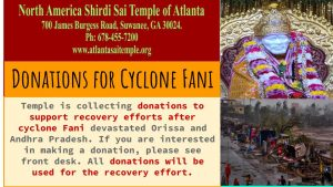 Donations for Cyclone FANI - Check front desk for details