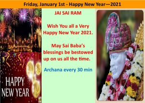 January 1st, New Year 2021 - All day Archana every 30mins.