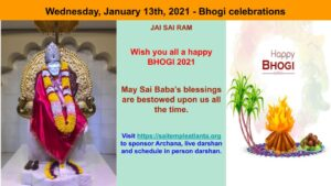 WEDNESDAY JANUARY 13TH, 2021 - BHOGI CELEBRATIONS